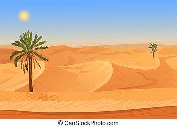 style, paumes, illustration., nature, seamless, désert, herbes, sable, vecteur, jeu, montagnes., dessin animé, paysage