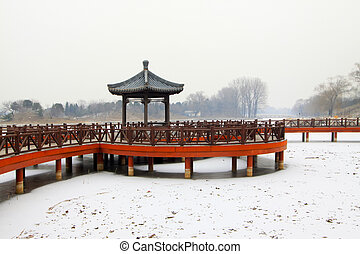 style, pavillon, chinois, rail, traditionnel, parc, porcelaine, architectural