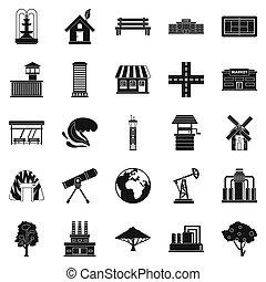 style, pays, ensemble, icônes simples