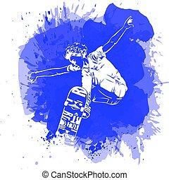 style, peinture eclabousse, planches roulettes, tache, aquarelle, arrière-plan., thème, vecteur, sauter, patins, icon., skateboarder, extrême, print.