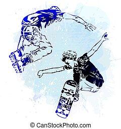 style, peinture, planches roulettes, moderne, tache, aquarelle, arrière-plan., thème, éclaboussure, sauter, patins, icon., skateboarder, extrême, rouleau, print.