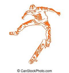 style, peinture, planches roulettes, moderne, tache, aquarelle, arrière-plan., thème, éclaboussure, sauter, patins, icon., skateboarder, extrême, print.