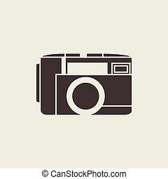 style, photo, vecteur, ligne, appareil photo, icône