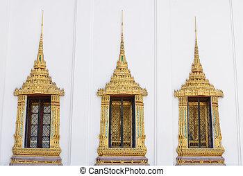style, phra, fenêtre, thaï, wat, kaew, temple