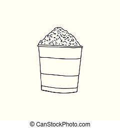style., pipoca, box., mão, listrado, doodles, balde, pop-corn., vetorial, caricatura, illustration., desenhado