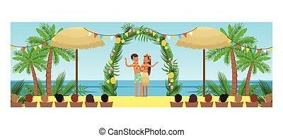 style, plage, ouvert, exotique, vecteur, illustration, cérémonie, nouveaux mariés, heureux, invités, mariage, dessin animé, leur, recours