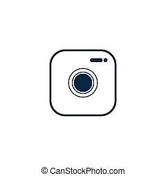 style, plat, arrière-plan., blanc, toile, app, logo, appareil photo, site, icône, ui., symbole, conception, isolé
