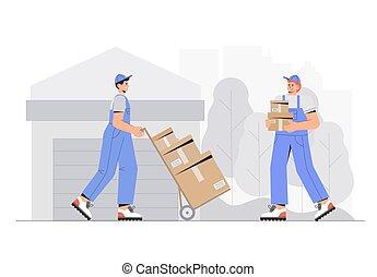 style, plat, business, boxes., illustration., vecteur, caractères, livraison, ouvriers, déchargement, entrepôt