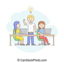 style, plat, créativité, ensemble, linéaire, leader., vecteur, projet, illustration, collaboration, cener, gens, ou, business, concept., fonctionnement, contour, nouveau, dessin animé, coworking, équipe, démarrage