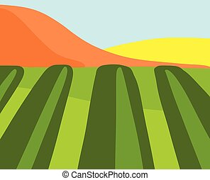 style., plat, paysage., montagnes., rayé, clair, champ