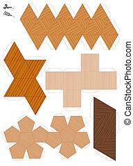 style, platonic, bois, solides, papier, modèle
