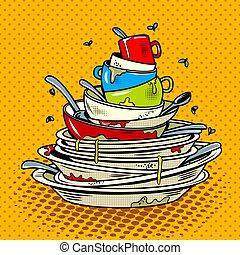 style, plats, illustration, vecteur, sale, livre comique