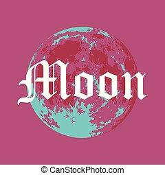 style, pleine lune, moderne, illustration, lune, vecteur, créatif