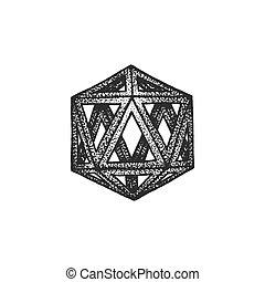 style, pointillé, illustration, polyèdre, main, dessiné