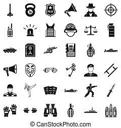 style, police, icônes, ensemble, simple, officier