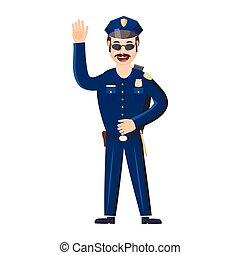style, policier, dessin animé, icône