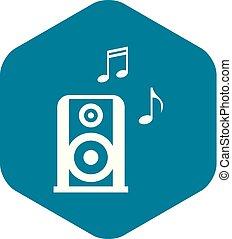 style, portable, simple, speacker, musique, icône