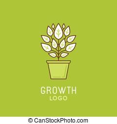 style, résumé, croissance, logo, linéaire, vecteur, branché, concevoir élément