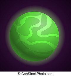 style, résumé, planète, vert, icône, dessin animé