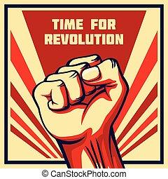 style, révolution, vendange, élevé, vecteur, poing, affiche