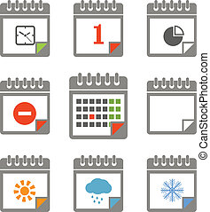 style, różny, ikony, kolor, zbiór, kalendarz