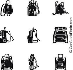 style, randonnée, ensemble, sac à dos, simple, icône