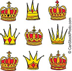 Style red crown doodle set