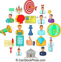 style, relation affaires, icônes, ensemble, dessin animé