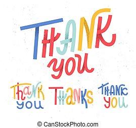style, remercier, coloré, collection, morceaux, quatre, fond, amusement, vous, coutume, mots, blanc, lettrage