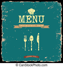 style, restaurant, menu., vecteur, conception, retro