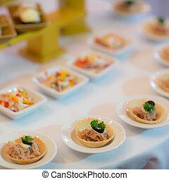 style, restaurant, nourriture, série, -, buffet, images, plateaux