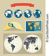 style, retro, cartes, collection, mondiale, ville
