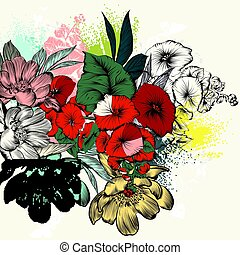 style, retro fleurit, gravé, main, dessiné
