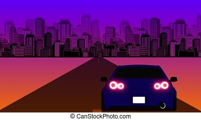 style, retro-futuristic, arrière-plan., voiture, 80s, sci-fi