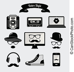 style, retro, média, vendange, hipster