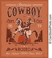 style, retro, rodéo, cheval, séance, élevage, cow-boy, affiche
