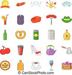 style, romantique, icônes, ensemble, dîner, dessin animé