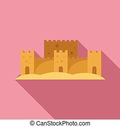 style, sable, icône, art, plat, château