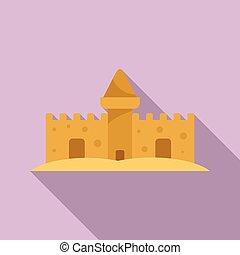 style, sable, icône, conte fées, plat, château