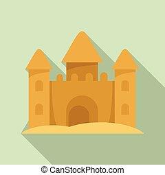 style, sable, icône, fait, château, plat
