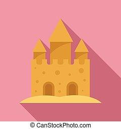 style, sable, icône, fantasme, plat, château