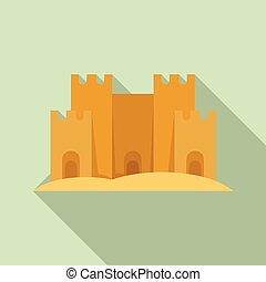 style, sable, icône, plat, château