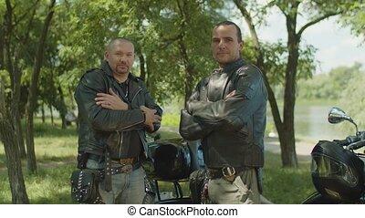 style, salutation, motards, sérieux, mâle, cavaliers