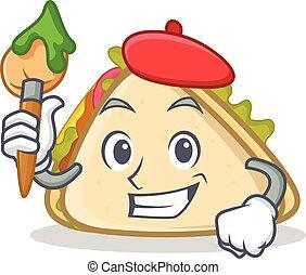 style, sandwich, caractère, dessin animé, artiste