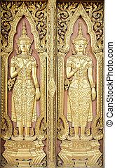 style, sculpture, temple, thaï, porte