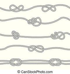 style, seamless, différent, ensemble, nœuds, croquis, modèle, cordes, horizontal