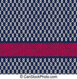 Style Seamless Knitted Pattern - Style Seamless Marine Blue...