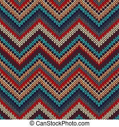 Style Seamless Knitted Pattern. Red Blue Brown Yellow Orange Color Illustration
