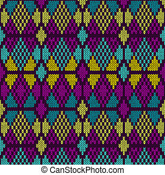 Style Seamless Knitted Pattern.Blue Purple Yellow Color Illustration from my large Collection of Samples of knitted Fabrics