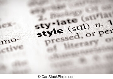 "Style - Selective focus on the word \""style\\\"". Many more..."
